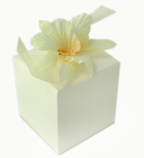 Kästchen Hochzeit creme/weiße Orchideen Hibiscus Blüte Gastgeschenk