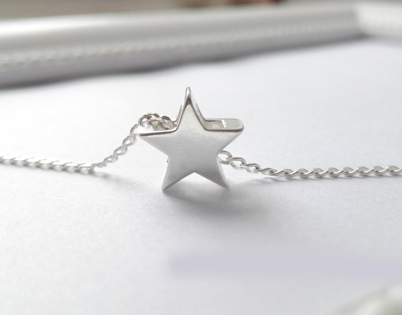 Stern Kette massiv echt 925 Sterling Silber, Halskette, Glück & Frieden